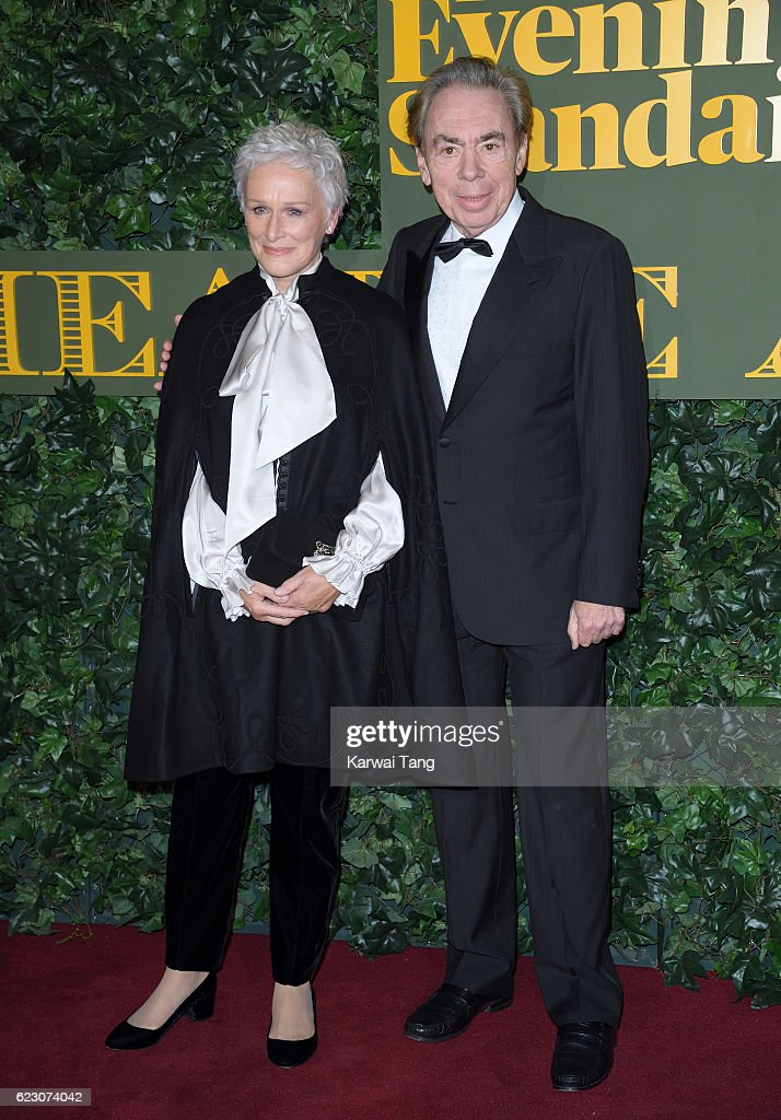 Glenn Close and Sir Andrew Lloyd Webber attend The London Evening Standard Theatre Awards at The Old Vic Theatre on November 13, 2016 in London, England.