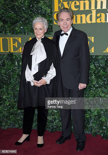 Glenn Close and Sir Andrew Lloyd Webber attend The London Evening Standard Theatre Awards at The Old Vic Theatre on November 13 2016 in London England