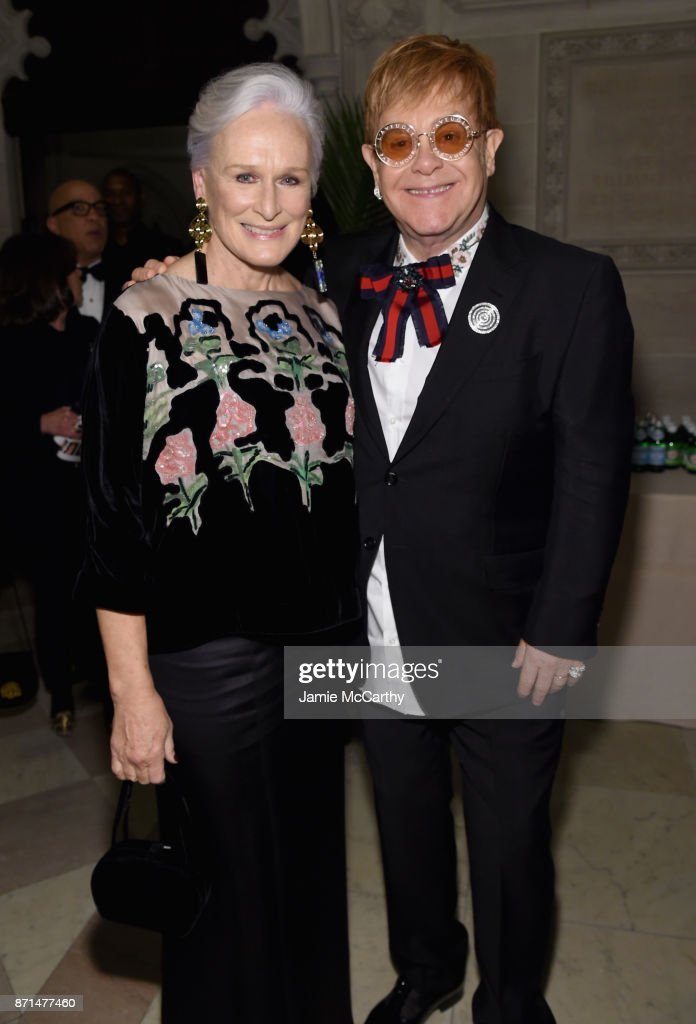 Glenn Close and Sir Elton John attend the Elton John AIDS Foundation Commemorates Its 25th Year And Honors Founder Sir Elton John During New York Fall Gala at Cathedral of St. John the Divine on November 7, 2017 in New York City.