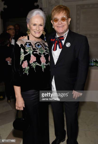 Glenn Close and Sir Elton John attend the Elton John AIDS Foundation Commemorates Its 25th Year And Honors Founder Sir Elton John During New York...