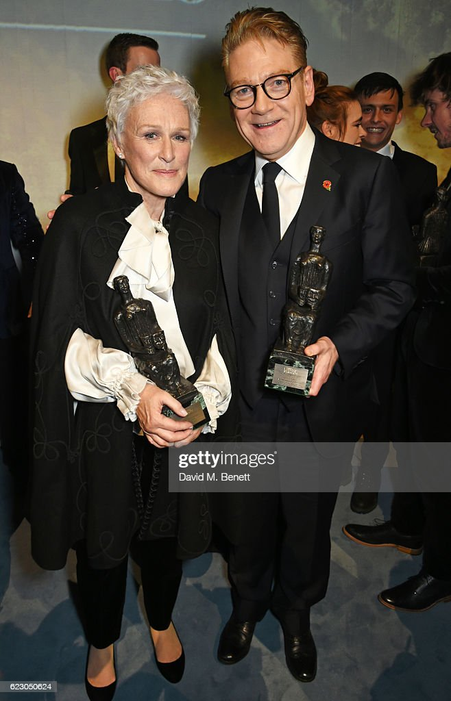 Glenn Close (L) and Sir Kenneth Branagh attend The 62nd London Evening Standard Theatre Awards after party, recognising excellence from across the world of theatre and beyond, at The Old Vic Theatre on November 13, 2016 in London, England.