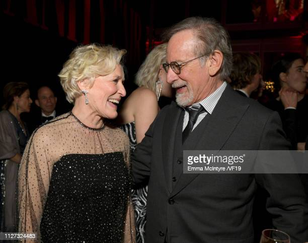 Glenn Close and Steven Spielberg attend the 2019 Vanity Fair Oscar Party hosted by Radhika Jones at Wallis Annenberg Center for the Performing Arts...