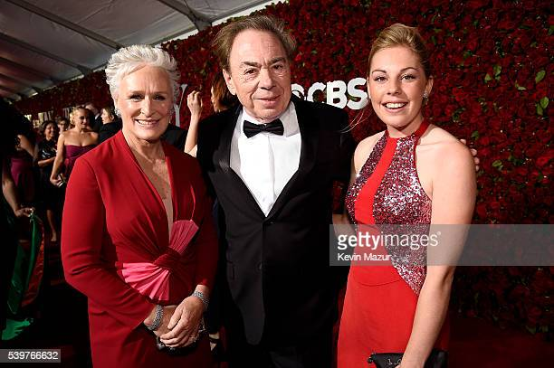 Glenn Close Andrew Lloyd Webber and Isabella Lloyd Webber attend the 70th Annual Tony Awards at The Beacon Theatre on June 12 2016 in New York City