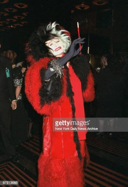 Glenn Close arrives at Radio City Music Hall for the premiere of the movie 101 Dalmatians dressed as Cruella DeVil Close stars in the film