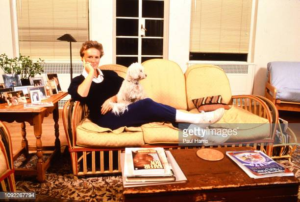 """Glenn Close at her New York home with her dog just after the success of her film, """"Fatal Attraction"""" June 1, 1987 Manhattan, New York, New York"""