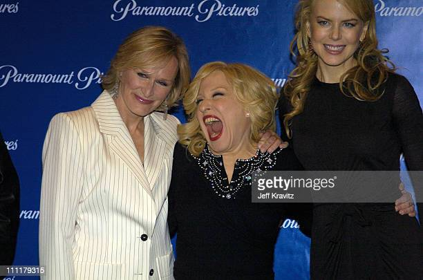 Glenn Close Bette Midler and Nicole Kidman during ShoWest 2004 Paramount Pictures Press Room at Bally's Paris Hotel in Las Vegas Nevada United States