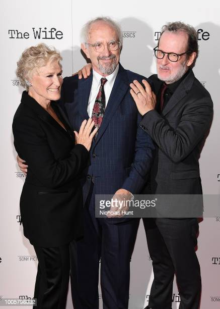 Glenn Close Jonathan Pryce and Bjorn Runge attend the New York Screening of 'The Wife' at The Paley Center for Media on July 26 2018 in New York City