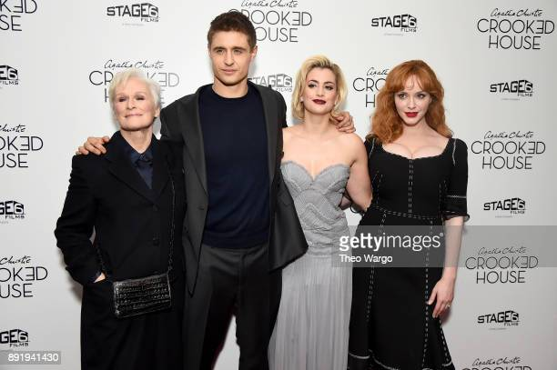 Glenn Close Max Irons Stefanie Martini and Christina Hendricks attends the 'Crooked House' New York Premiere at Metrograph on December 13 2017 in New...