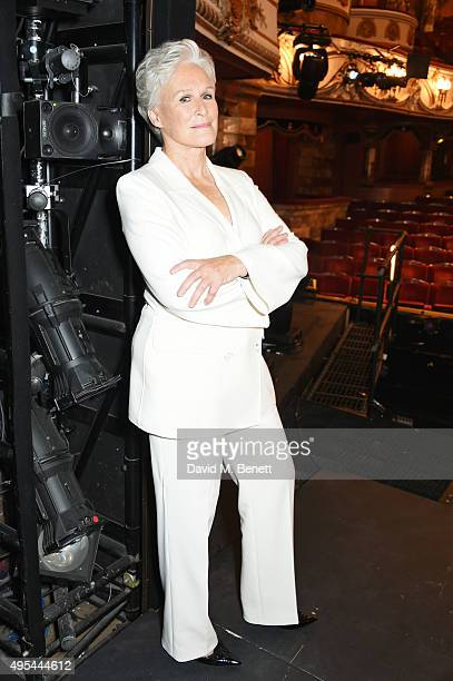 Glenn Close poses at a photocall for Sunset Boulevard opening in April 2016 at The London Coliseum on November 2 2015 in London England