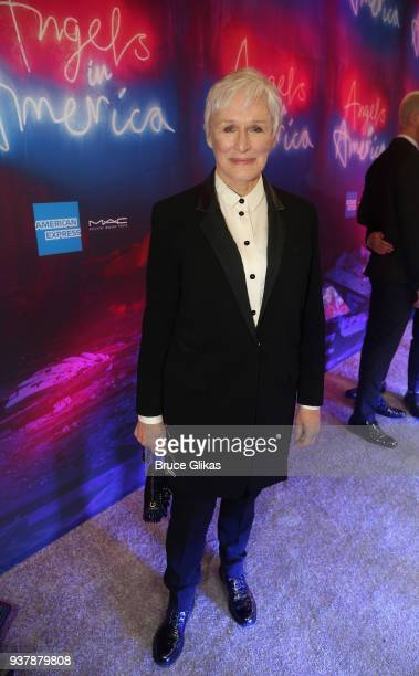 Glenn Close poses at the Opening Night of 'Angels In America' on Broadway at The Neil Simon Theatre on March 25 2018 in New York City