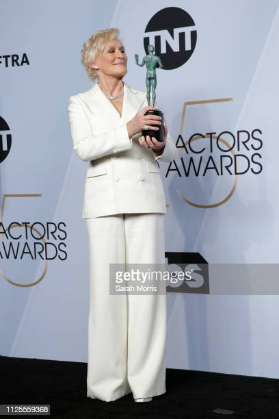 Glenn Close poses in the press room at the 25th annual Screen Actors Guild Awards at The Shrine Auditorium on January 27 2019 in Los Angeles...