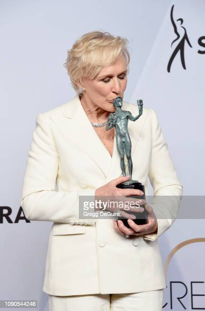 Glenn Close poses in the press room with award for Outstanding Performance by a Female Actor in a Leading Role in 'The Wife' during the 25th Annual...