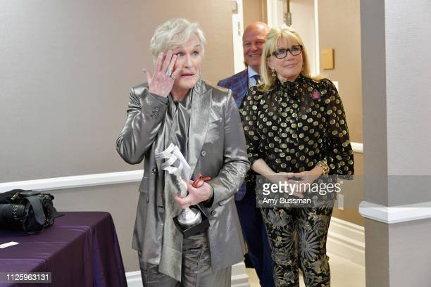 Glenn Close recipient of the Spotlight Award Michael Chiklis and Ellen Mirojnick attend The 21st CDGA at The Beverly Hilton Hotel on February 19 2019...