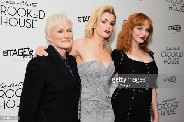 Glenn Close Stefanie Martini and Christina Hendricks attends the 'Crooked House' New York Premiere at Metrograph on December 13 2017 in New York City