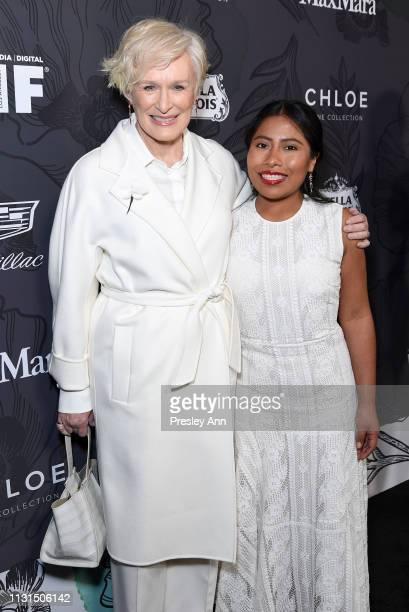 Glenn Close wearing Max Mara and Yalitza Aparicio wearing Max Mara attends 12th Annual Women in Film Oscar Nominees Party Presented by Max Mara with...