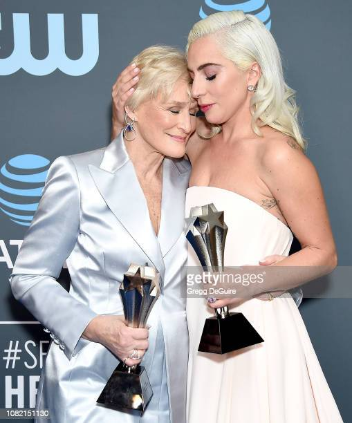 Glenn Close winner of Best Actress for 'The Wife' and Lady Gaga winner of Best Actress for 'A Star Is Born pose in the press room at The 24th Annual...