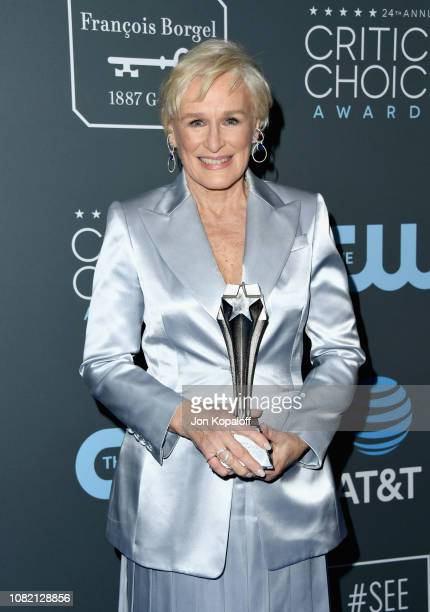 Glenn Close winner of Best Actress for 'The Wife' poses in the press room during the 24th annual Critics' Choice Awards at Barker Hangar on January...