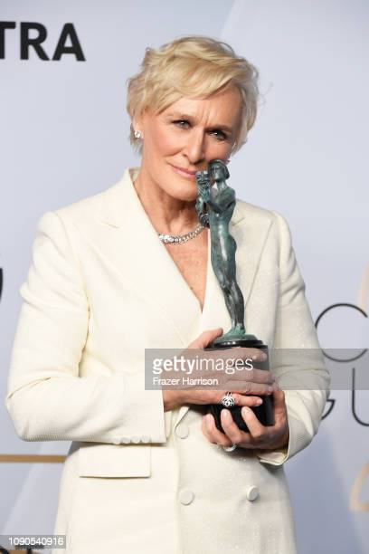 Glenn Close, winner of Outstanding Performance by a Female Actor in a Leading Role for 'The Wife,' poses in the press room during the 25th Annual...