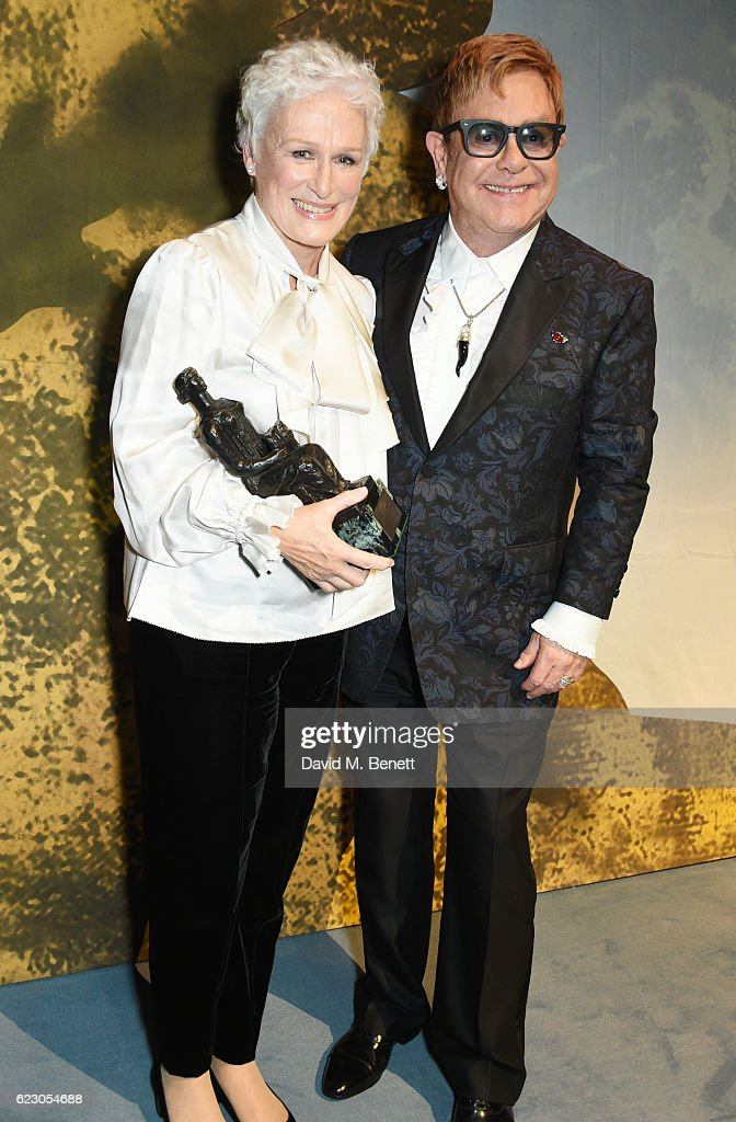 Glenn Close, winner of the Best Musical Performance award, and Sir Elton John pose onstage at the 62nd London Evening Standard Theatre Awards, recognising excellence from across the world of theatre and beyond, at The Old Vic Theatre on November 13, 2016 in London, England.