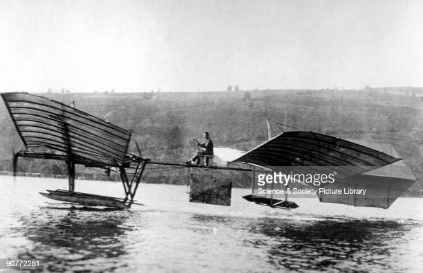 Glenn Curtiss flying the modified Langley 'aerodrome' on the lake at Hammondsport, Long Island in the summer of 1914. This set off the 'great...