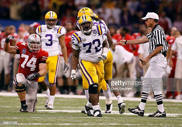 Glenn Dorsey of the Louisiana State University Tigers celebrates after he sacked Todd Boeckman of the Ohio State Buckeyes during the AllState BCS...