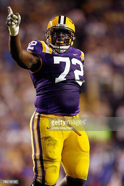 Glenn Dorsey of the Louisiana State University Tigers celebrates after stopping the Louisiana Tech Bulldogs on November 10 2007 at Tiger Stadium in...