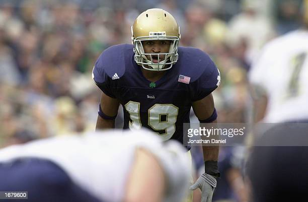 Glenn Earl of the Notre Dame Fighting Irish get set for play against the Pittsburgh Panthers during the game on October 12, 2002 at Notre Dame...