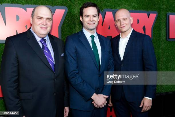 Glenn Fleshler Bill Hader and Anthony Carrigan attend the Los Angeles premiere of HBO's 'Barry' at NeueHouse Los Angeles on March 21 2018 in...