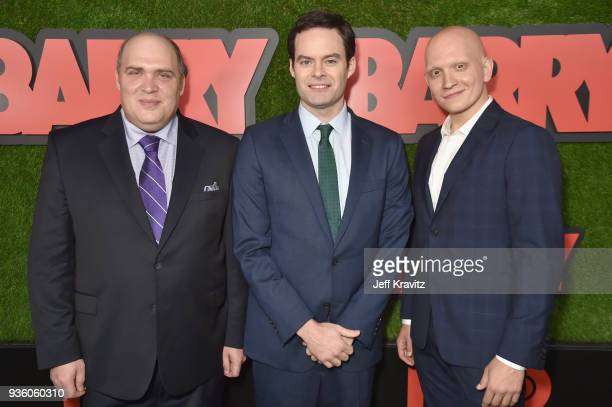 Glenn Fleshler Bill Hader and Anthony Carrigan attend the premiere of HBO's 'Barry' at NeueHouse Los Angeles on March 21 2018 in Hollywood California