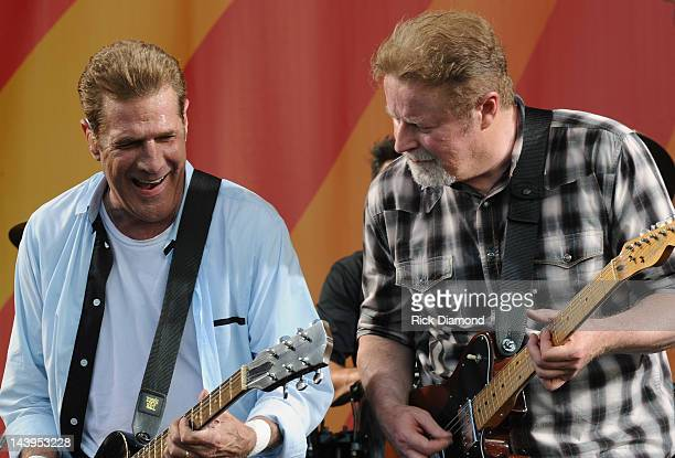 Glenn Frey and Don Henley of the Eagles performs during the 2012 New Orleans Jazz & Heritage Festival - Day 6 at the Fair Grounds Race Course on May...
