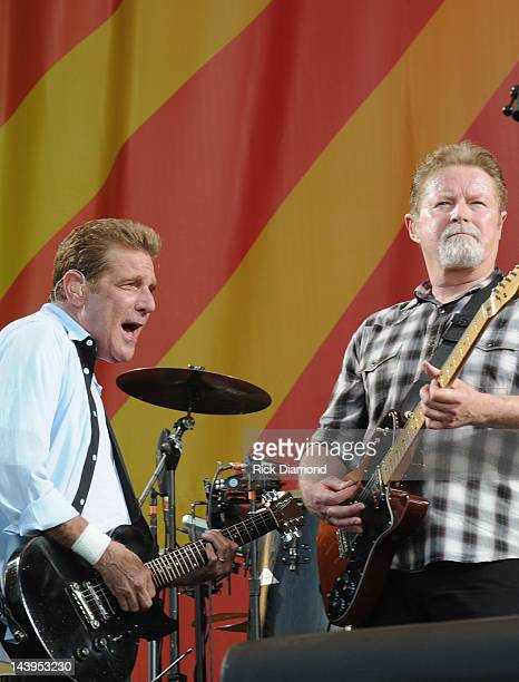 Glenn Frey and Don Henley of the Eagles performs during the 2012 New Orleans Jazz Heritage Festival Day 6 at the Fair Grounds Race Course on May 5...