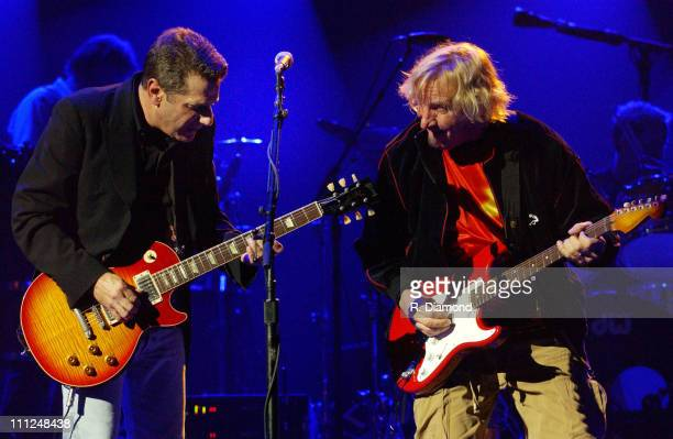 Glenn Frey and Joe Walsh during The Eagles and Dixie Chicks Benefit for Recording Artists Coalition at MCI Center in Washington DC United States
