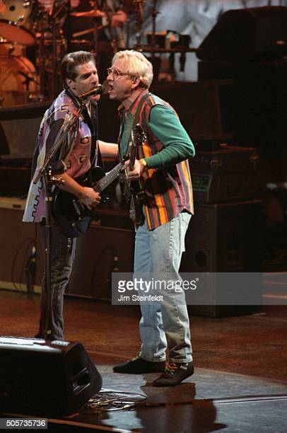 Glenn Frey and Joe Walsh of the Eagles perform at the Target Center in Minneapolis Minnesota on February 21 1995