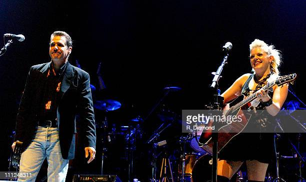 Glenn Frey and Natalie Maines during The Eagles and Dixie Chicks Benefit for Recording Artists Coalition at MCI Center in Washington DC United States