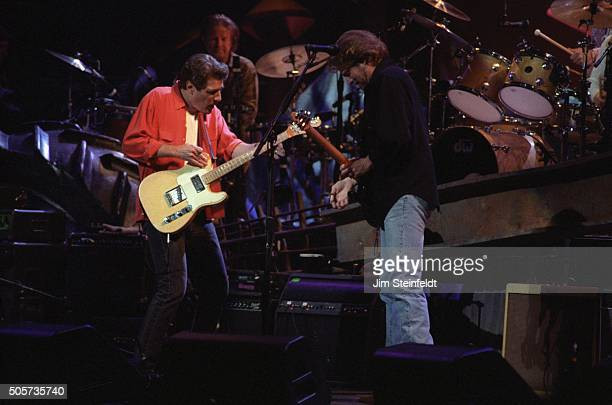 Glenn Frey, Don Henley, and Don Felder of the Eagles perform at the Target Center in Minneapolis, Minnesota on February 22, 1995.