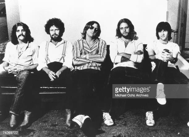 "Glenn Frey, Don Henley, Joe Walsh, Don Felder and Randy Meisner of the rock band ""Eagles"" pose for a portrait in Photo by Michael Ochs Archives/Getty..."