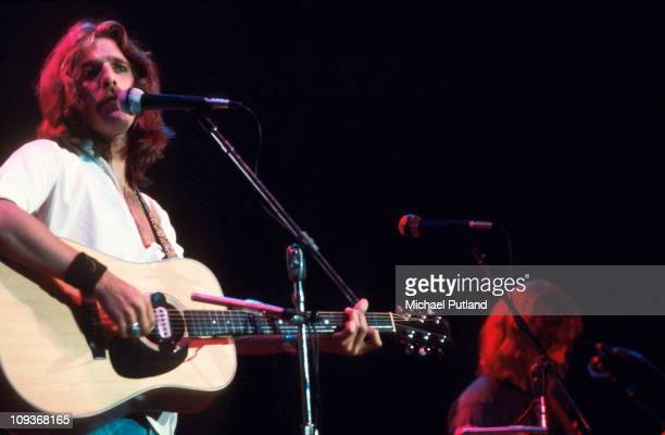 Glenn Frey of The Eagles performs on stage Wembley London 1977