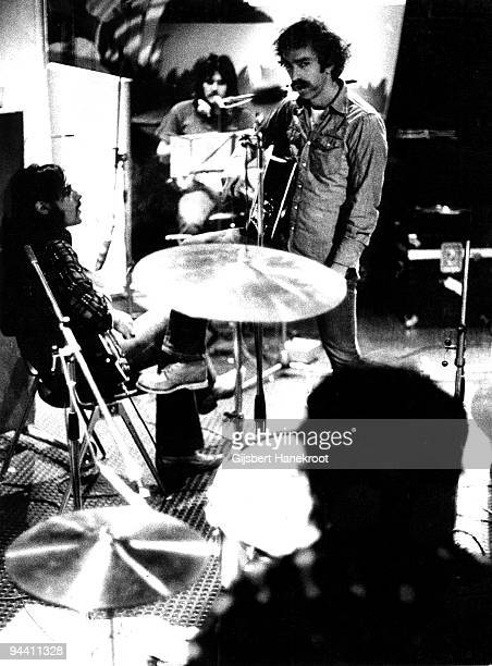 Glenn Frey, Randy Meisner, Bernie Leadon and Don Henley of The Eagles rehearsing in London in 1973.