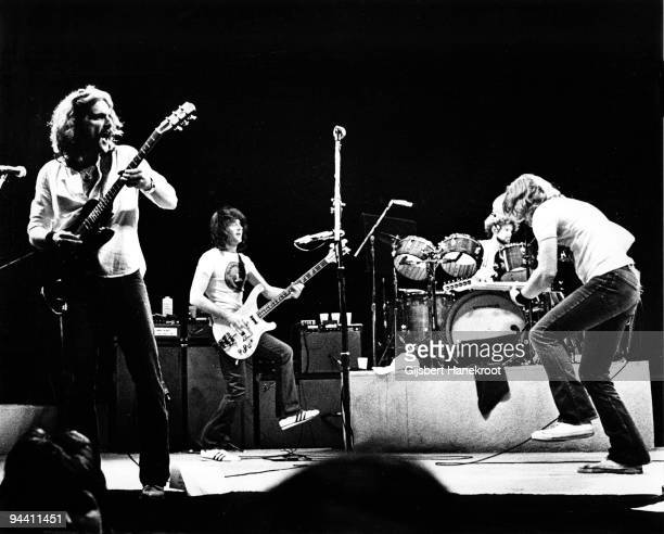 Glenn Frey, Randy Meisner, Don Henley and Joe Walsh of The Eagles perform on stage at Ahoy on May 11th 1977 in Rotterdam, Netherlands.