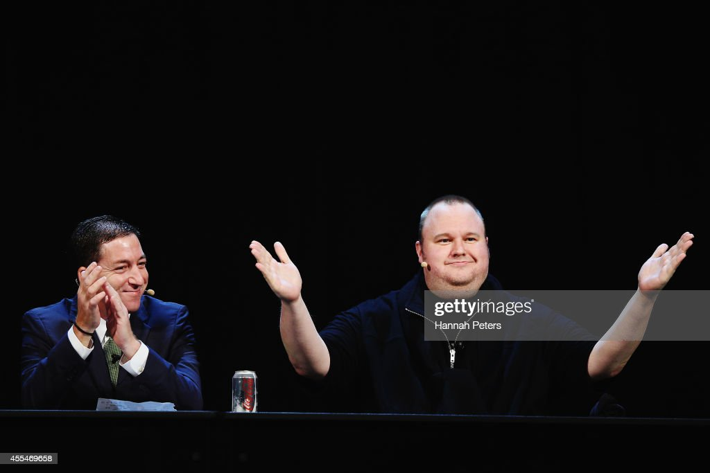 Glenn Greenwald and Kim Dotcom discuss the revelations about New Zealand's mass surveillance at Auckland Town Hall on September 15, 2014 in Auckland, New Zealand. The general election in New Zealand will be held this weekend, on 20 September 2014.