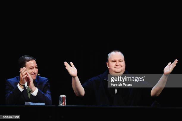 Glenn Greenwald and Kim Dotcom discuss the revelations about New Zealand's mass surveillance at Auckland Town Hall on September 15 2014 in Auckland...