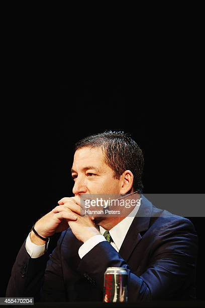 Glenn Greenwald arrives to discuss the revelations about New Zealand's mass surveillance at Auckland Town Hall on September 15 2014 in Auckland New...