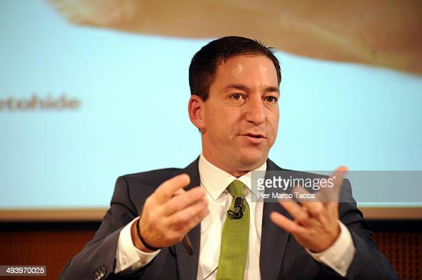 Glenn Greenwald speaks during the presentation of his book 'No Place to Hide Edward Snowden The NSA And The US Surveillance State' on May 26 2014 in...