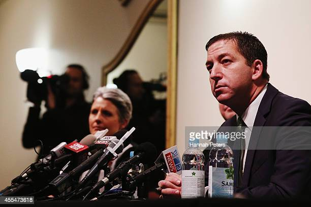 Glenn Greenwald talks to the media following the revelations about New Zealand's mass surveillance at Auckland Town Hall on September 15 2014 in...