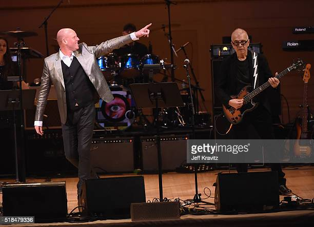 Glenn Gregory, Woody Woodmansey and Tony Visconti of Holy Holy perform onstage at Michael Dorf Presents - The Music of David Bowie at Carnegie Hall...