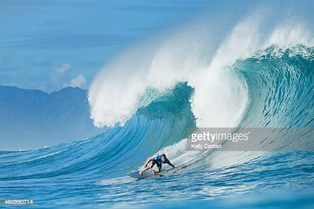 Glenn Hall of Australia placed second in his Billabong Pipe Masters round 1 heat on December 12 2014 in North Shore Hawaii