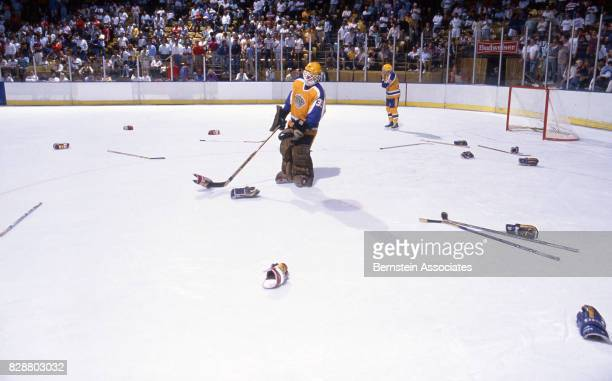 Glenn Healy of the Los Angeles Kings witnesses the aftermath of a brawl between with the Calgary Flames on March 1 1988 at the Great Western Forum in...