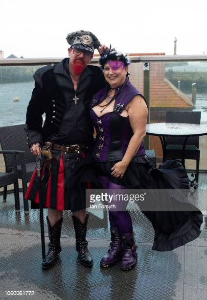 Glenn Hewitt and Donna Edmundson from York pose for a picture ahead of their wedding during Whitby goth Weekend on October 27 2018 in Whitby England...