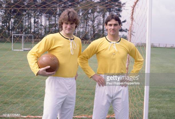 Glenn Hoddle and Milija Aleksic of Tottenham Hotspur wearing vintage kit to mark the Centenary of the FA Cup Final while at their training base in...