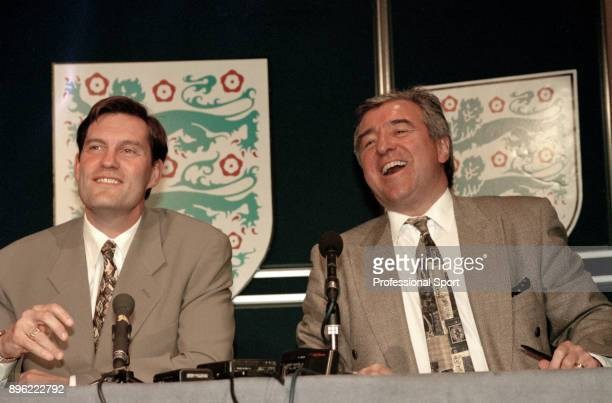 Glenn Hoddle and Terry Venables during a press conference at Lancaster Gate where it was announced that Hoddle would take over as England Manager...